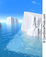 Iceberg. A kind on icebergs in water. 3D rendering.