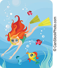 diver - vector Illustration of a cute diver-girl