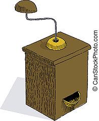Grinder - Pen and ink style illustration of an old grinder
