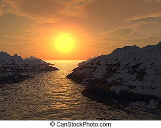 sunset in a gulf - Yellow sunset in a gulf Snow tops of...