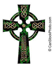 Cross from a green marble with gold incrustation
