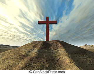 Cross on a hill from a red stone on a background of very...