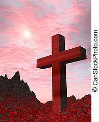 Cross from a red stone (active volcano) located on burning...