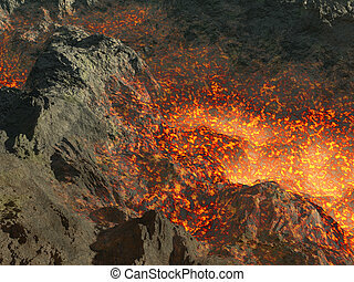 lava - Fragment of an active volcano a raging lava in a...