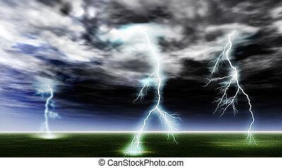 Lightning strike in a clean field. Storm, very drama sky