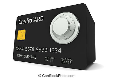 Online Banking - A credit card made like a safe with...