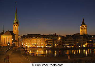 Zurich, Switzerland - Fraumunster cathedral and St. Peter's...