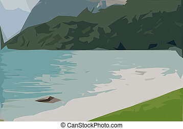 paint of water lake - paint of a glimpse of the lake with...