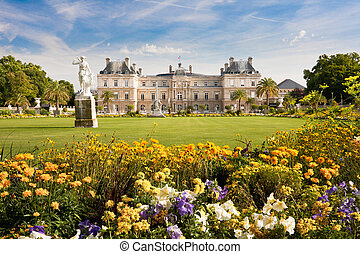 Luxembourg Palace with flowers