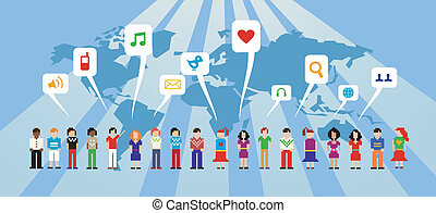 Social media network - People connected through the social...
