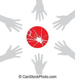 Japan helps - Group hands in a circle around the flag of...