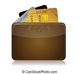 Leather wallet with credit cards inside illustration...