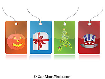 event tags - Christmas tree, evil pumpkin, present box, us...