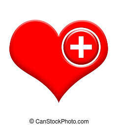 Heart with medical cross - Red heart with medical cross...