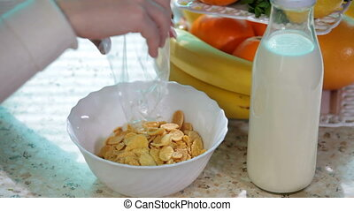 Breakfast cereal in a bowl