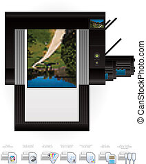 LaserJet Printer Top View - Medium Home Color Photo LaserJet...
