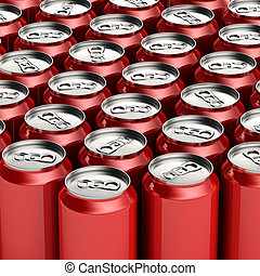 Red soda cans - Loads of unopened red soda cans