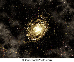 Galaxy rotating and star clusters - Deep space background...