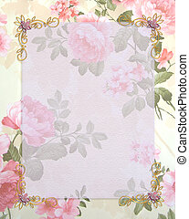 Wedding invitation pink roses