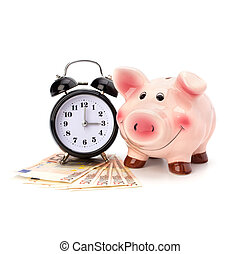 Money accumulation concept. Money and piggy bank isolated on...