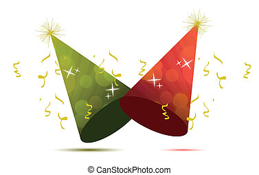party hats illustration design isolated over a white...