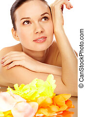 Day spa - Portrait of young charming woman in spa salon