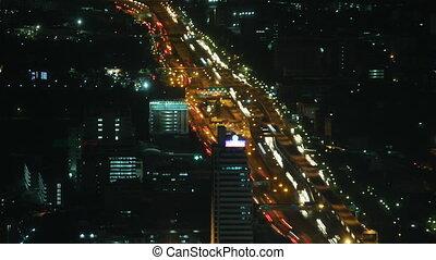 City traffic time lapse zoom 1 - Bangkok traffic time lapse...