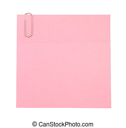 Pink paper note with paper clip
