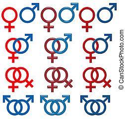 Female & Male Symbol (isolated white background) - set 3D...