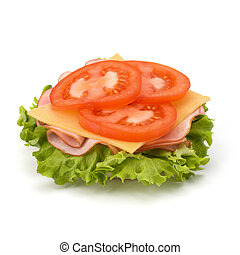 Healthy open sandwich with lettuce, tomato, smoked ham and...