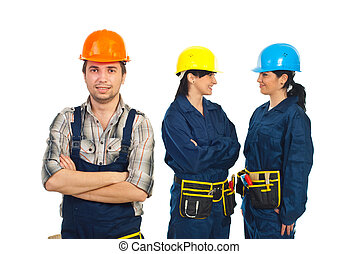 Builder man and his team of workers women - Builder man in...