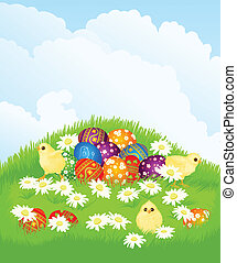 basket with Easter eggs and chicken