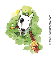 Bull terrier with stick - illustration of Bull terrier with...