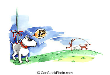 Bull terrier on the leash - illustration of Bull terrier on...