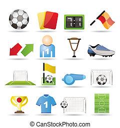 futebol, futebol, desporto, ícones