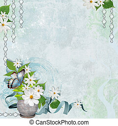 Spring background with chamomile - Spring shabby blue...