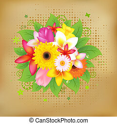 Flower Background On Vintage Paper, Vector Illustration