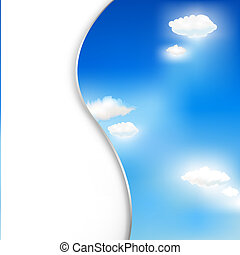 Background With Clouds And Sky, Vector Illustration