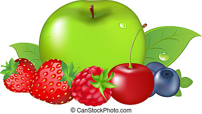Fruit And Berries, Isolated On White Background, Vector...