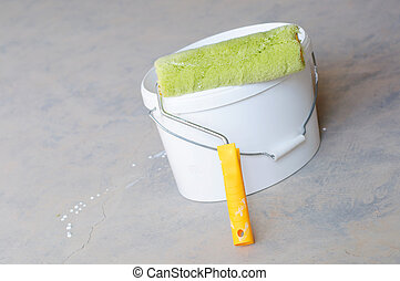 Home Improvement Paint Roller And Paint Tin - Home...