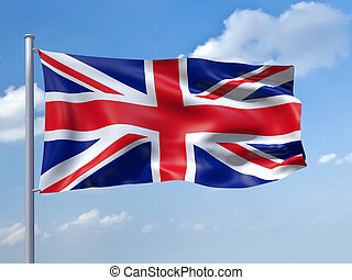 uk flag - An image of the uk flag in the blue sky