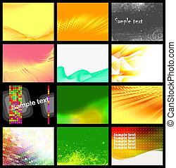 set of 12 backgrounds, vector  without gradient