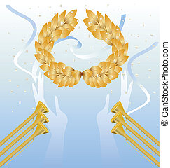 laurel wreath in hands - on blue background gold laurel...