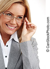 business woman in glasses on white background