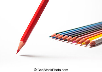 Colored pencils with red one in front. Contrasty version. -...