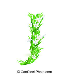 One letter of spring flowers alphabet - J. Illustration on...