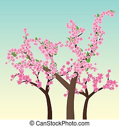 Cherry blossom, flowers of sakura, tree brunch, blue sky, spring background,vector illustration
