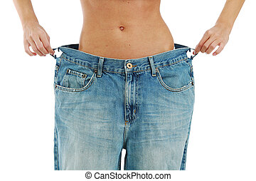 big jeans on small woman isolated