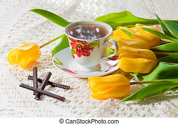 morning cup of tea with tulips