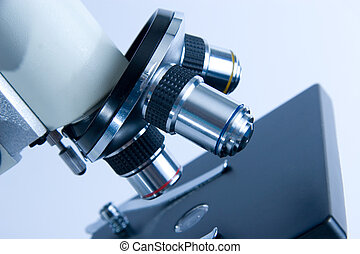 Microscope objectives - Closeup of microscope objectives in...